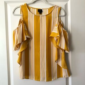 Yellow Striped Cold Shoulder Flutter Sleeve Top